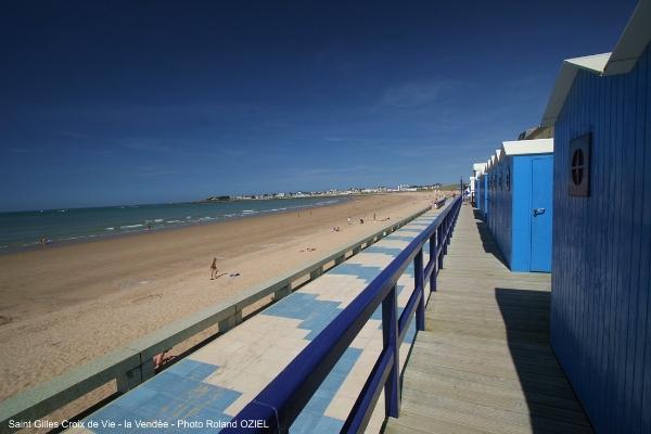 Cabines de bains et plage de Saint Gilles Croix de Vie